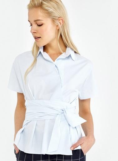 Kısa Kollu Belden Kuşaklı Gömlek-Ipekyol